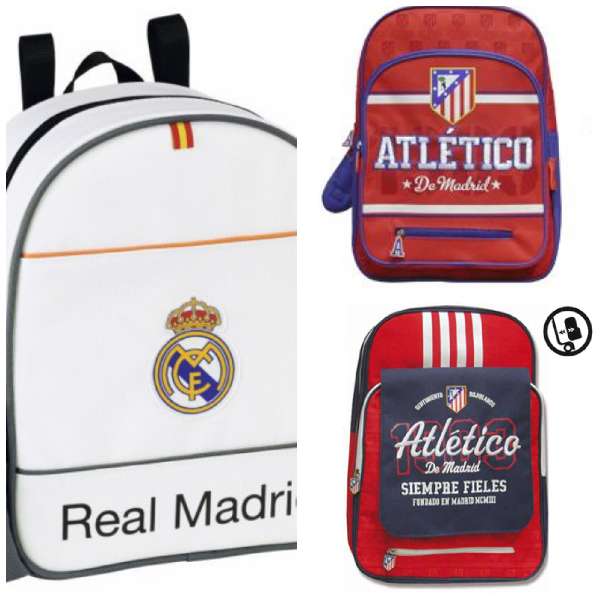 Mochilas de Real Madrid y Atletico de madrid