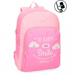 Mochila Doble Reforzada Roll Road Happy Pink